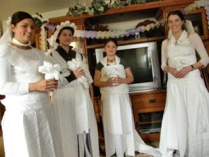 Here come the brides....