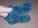My Chunky Slipper Socks with boa yarn. Pattern can be found in the Peggin' Pages.