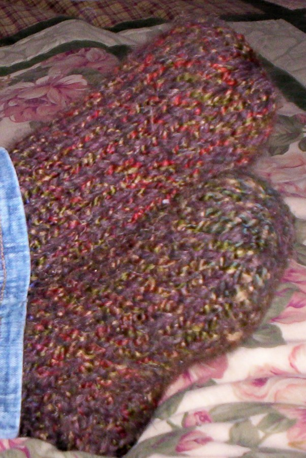 My Chunky Slipper Socks with Homespun. Pattern can be found in the Peggin' Pages.