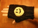 A variation of the Mittens pattern-w/Glow in the Dark Smiley! :)