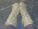 Plushy Slipper Socks...pattern by Isela Phelps.