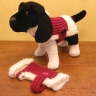 Santa Pooch!  Pattern is a variation of my Pooch Parka, found in the Loom Knitter's Pattern Book.