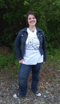 Megan in her Do Your Worsted! Tee