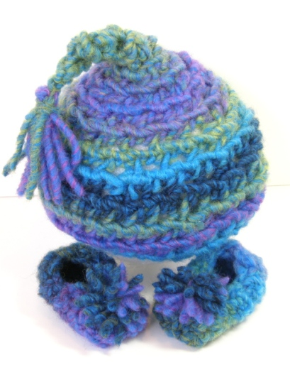 Loom Knit Gnome Hat & Booties Set front